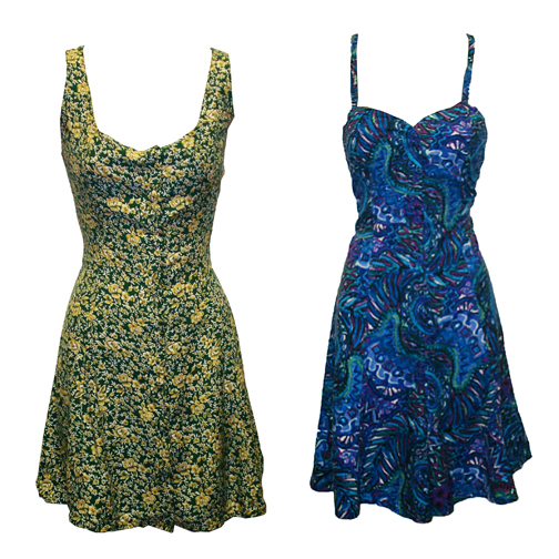 Beyond Retro playsuits green and blue