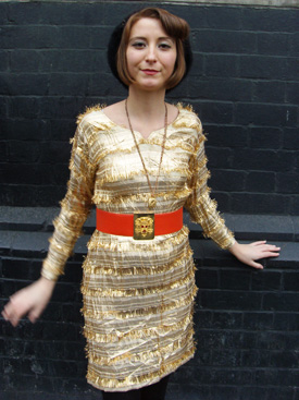 gold dress with belt1