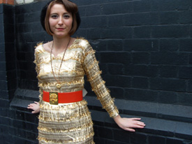 gold dress with belt4