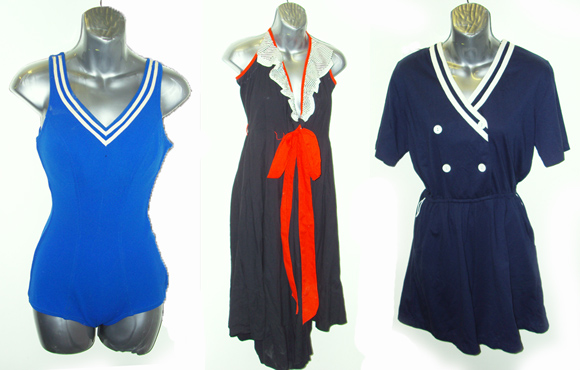 Nautical swimsuit, dress and playsuit