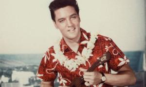 Elvis wearing tropical print