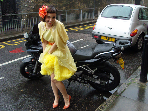 50s yellow tulle dress
