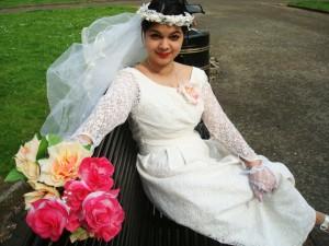 1960s vintage wedding dress and veil