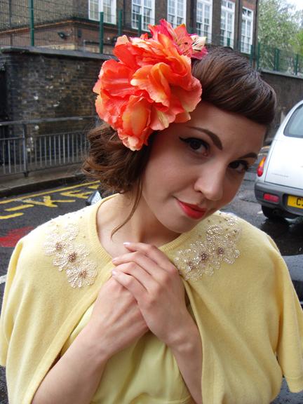 yellow-vintage beaded cardigan