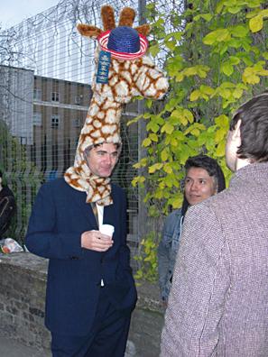 Steve wearing giraffe hat