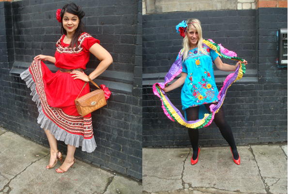 red and blue mexican dresses