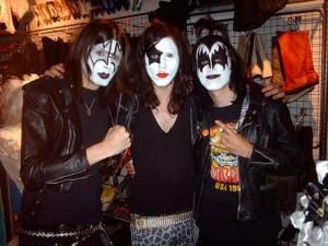 Mark (far left) in the Soho store dressed as Gene Simmons of Kiss