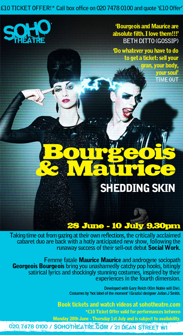 Get the £10 ticket offer for Bourgeois & Maurice