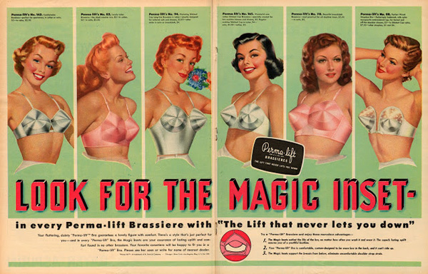 a951b5942 edited perma-lift brassieres ad 1951 edited lingerie 50s