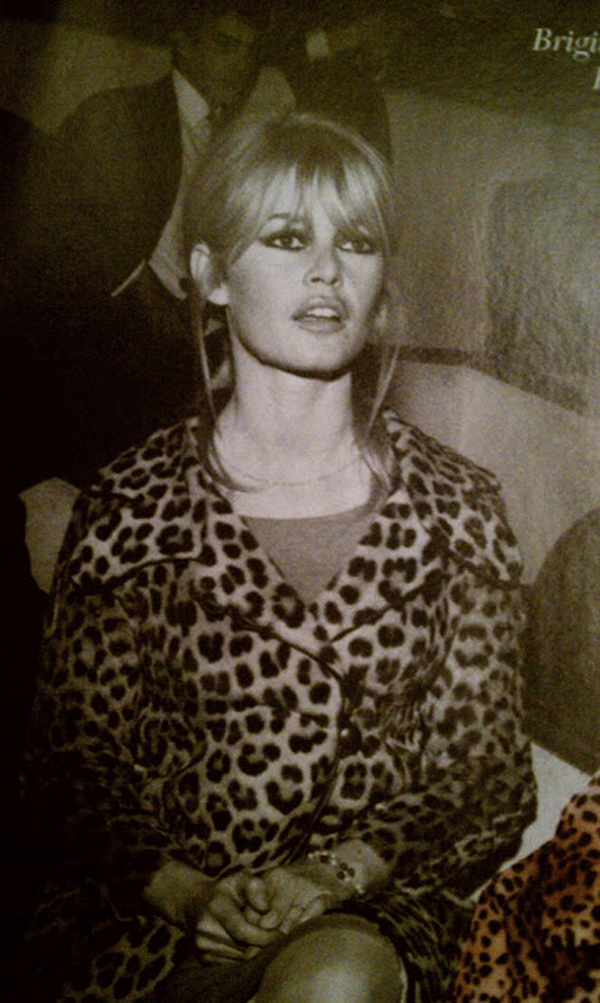 Brigitte Bardot pulls of this leopard print jacket perfectly.
