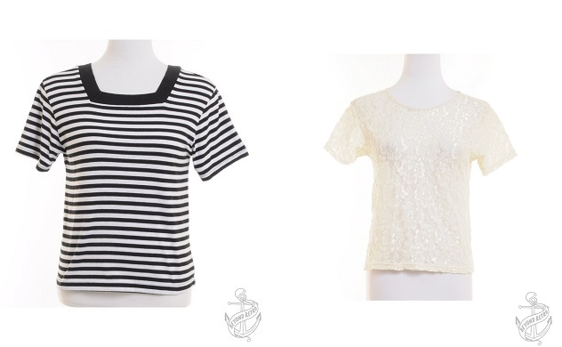 Striped Top: £18; Lace Top: £17 - Beyond Retro