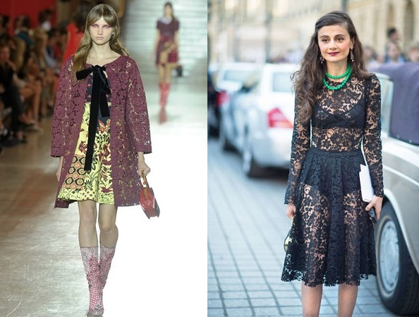 Catwalk and street style embraces lace