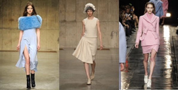 Left to right: Topshop Unique, Simone Rocha and Carven all experimenting with pastel hues for Winter