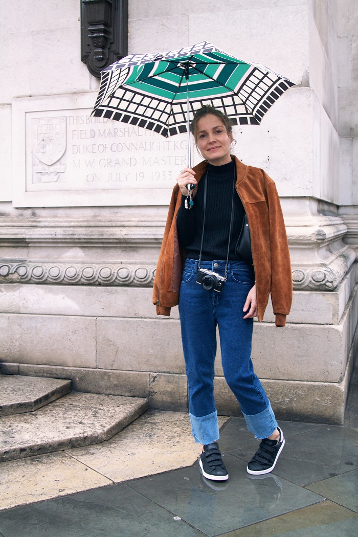 Pictured; Julia of Stylon Nylon in head-to-toe Urban Outfitters with a much-needed Radley brolly!