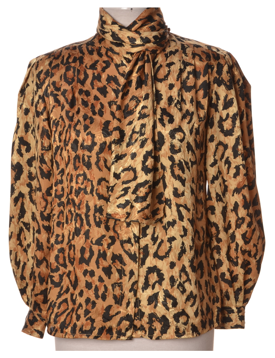 Animal Print Pussybow Blouse