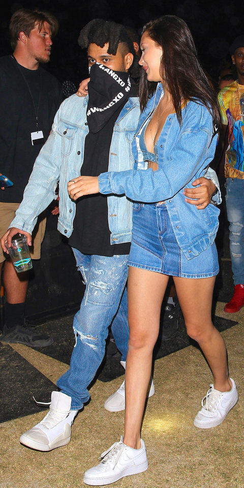 The Weeknd and Bella Hadid match at Coachella in Denim on Denim outfits