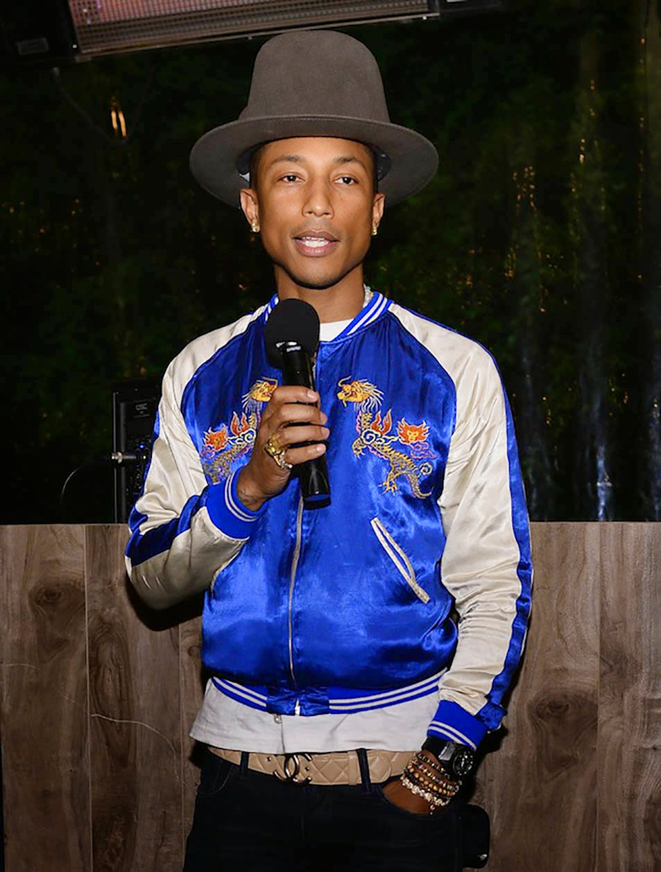 Singer Pharell tries out the trend