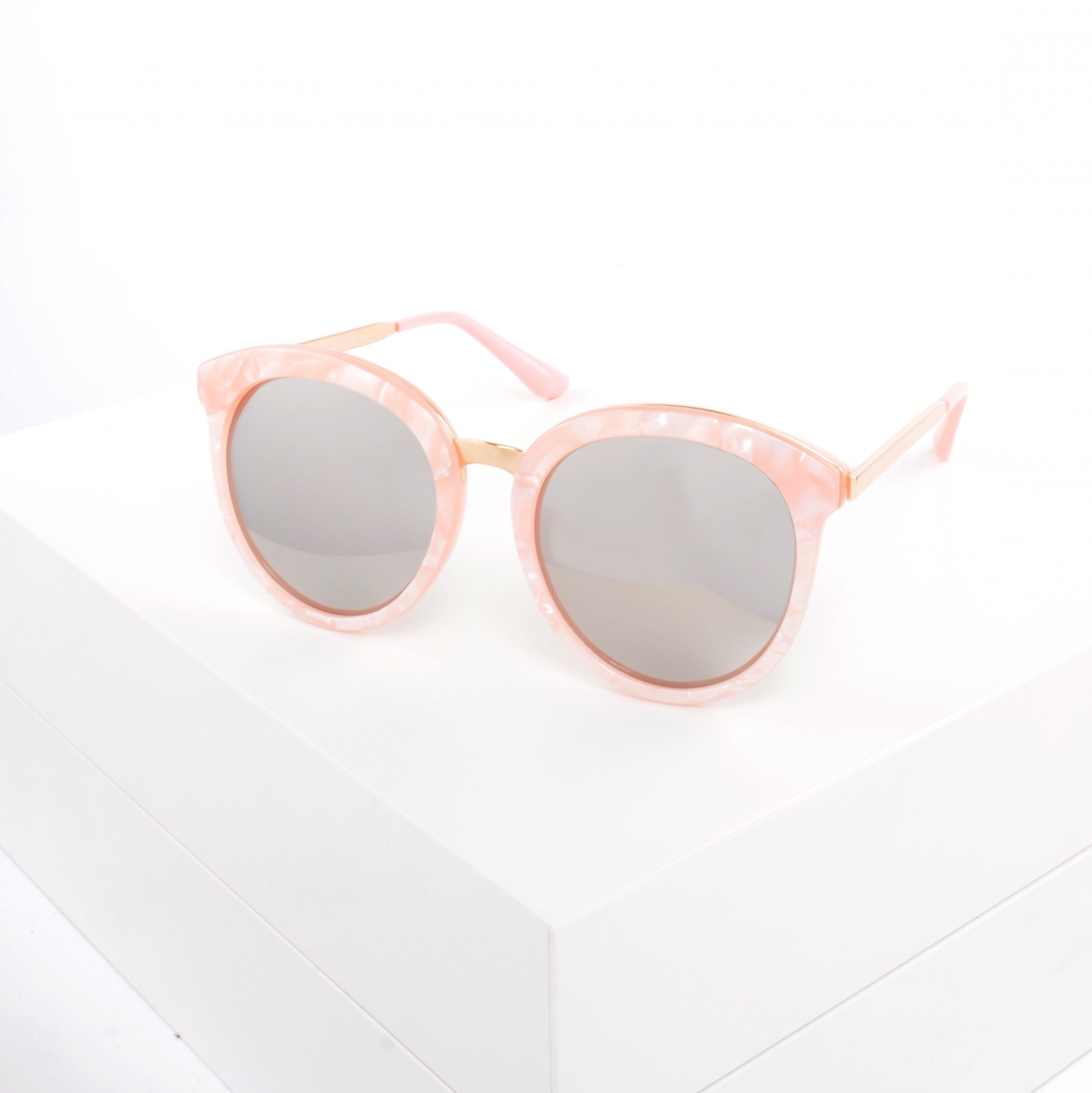 PINK MARBLE EFFECT OVERSIZED ROUND SUNGLASSES - £15.00