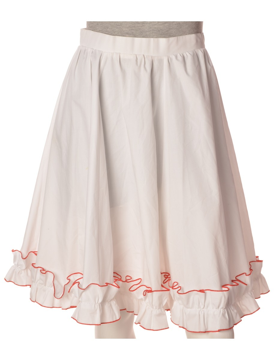 Vintage Midi Skirt White With Ruched Detailing - £20.00