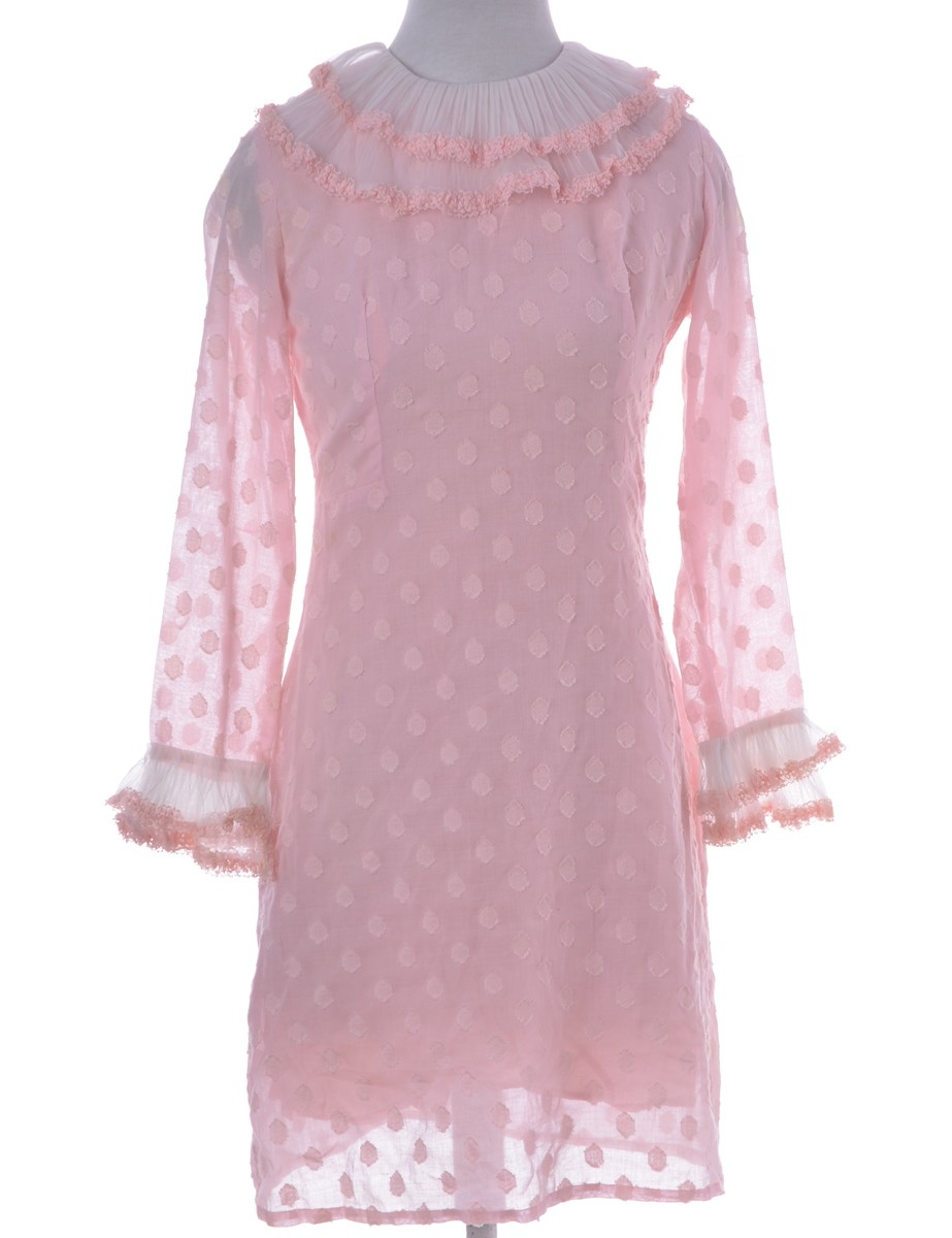 Vintage Day Dress Pink With Full Lining - £38.00