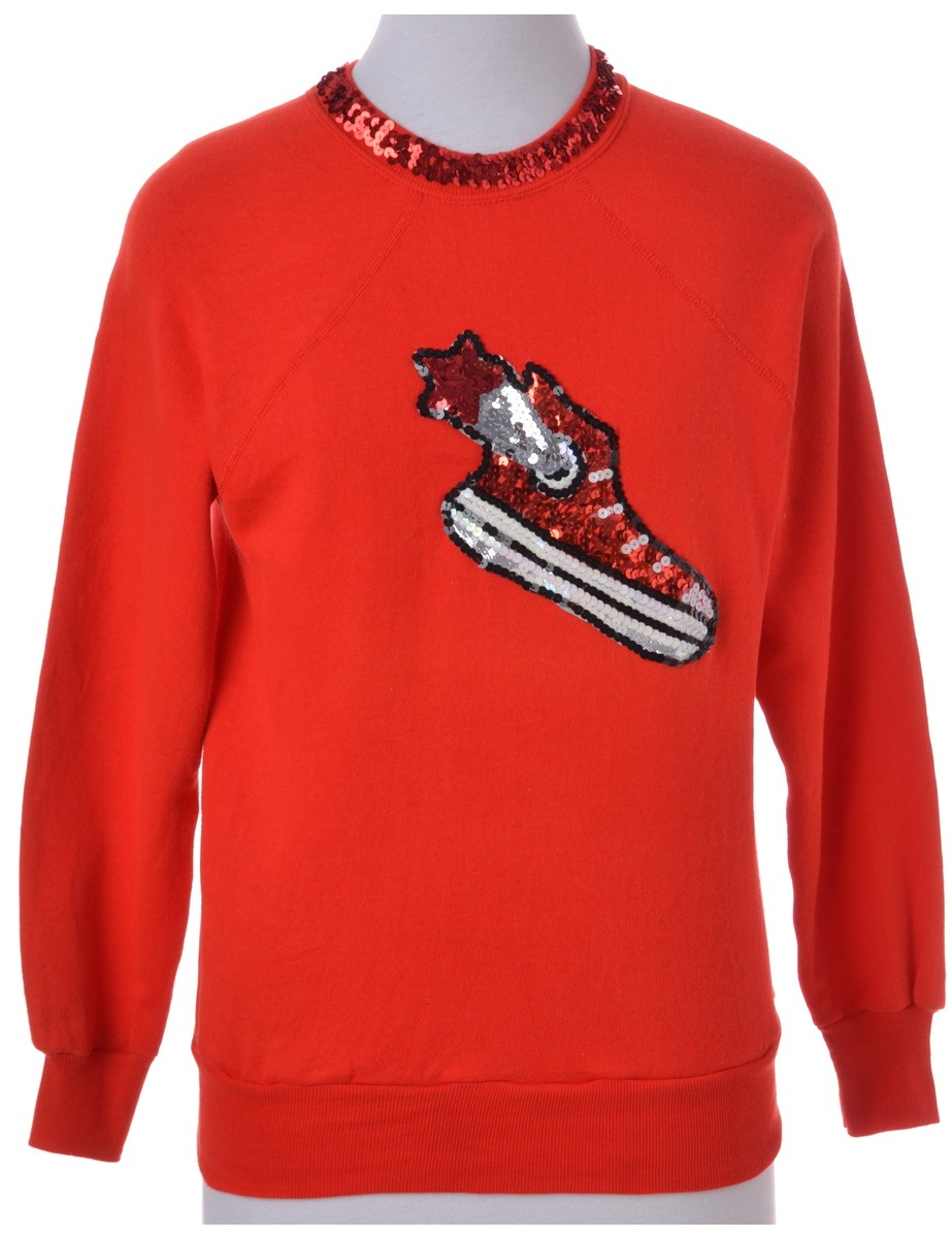 Printed Sweatshirt Red With Patchwork Applique - £20.00