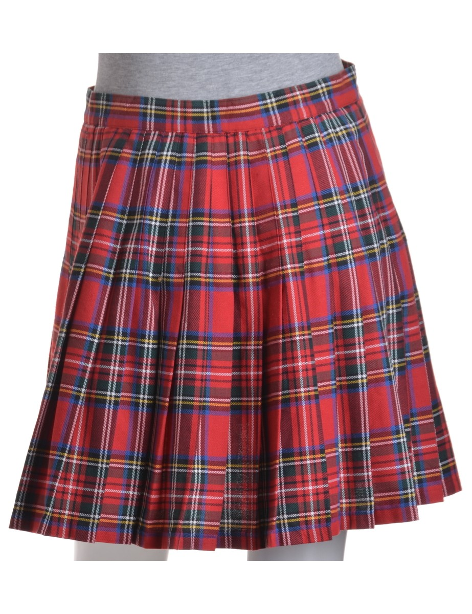 Mini Skirt Red With Pleating - £22.00