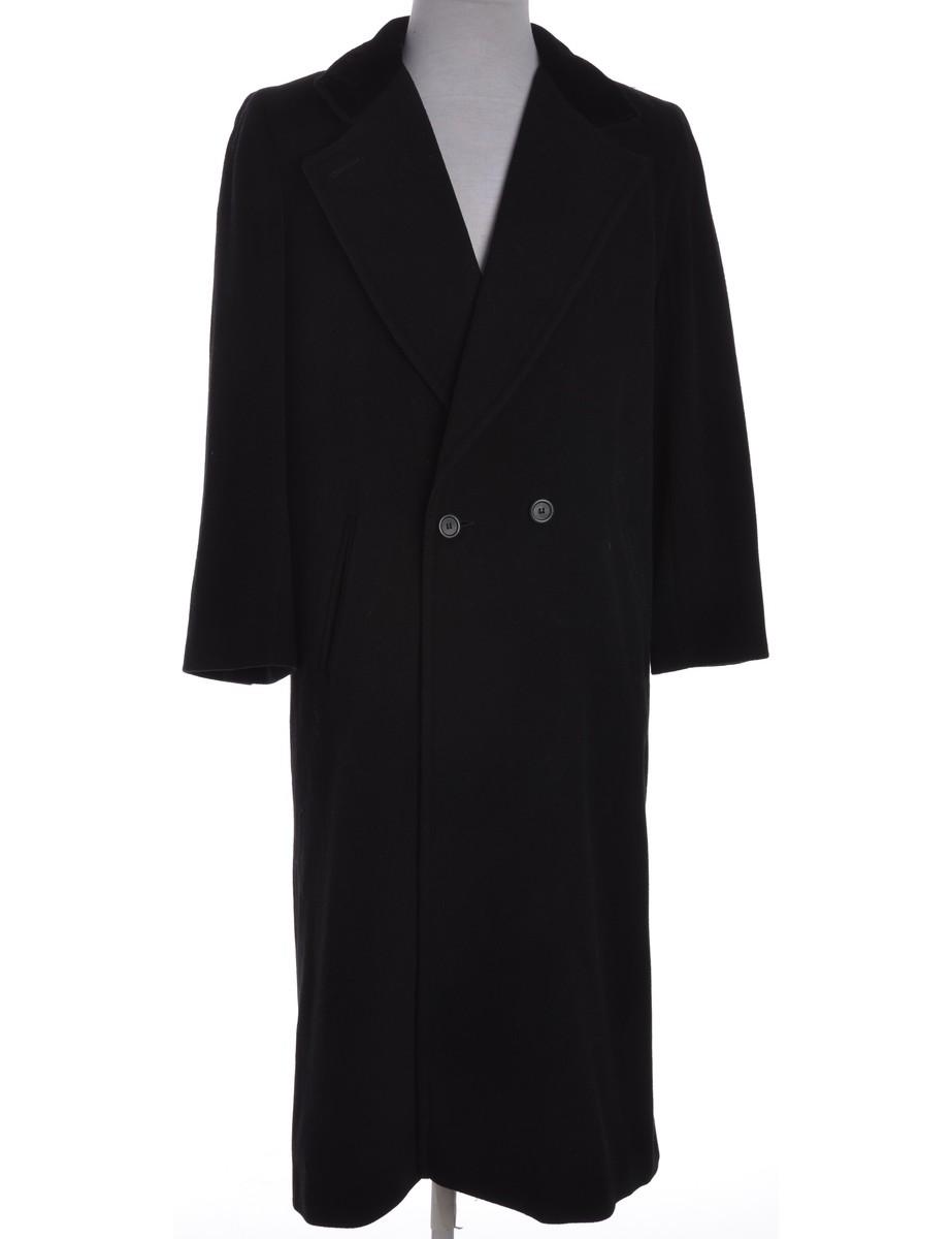 Beyond Retro Label Velvet Collar Coat Black With Welt Pockets - £55.00