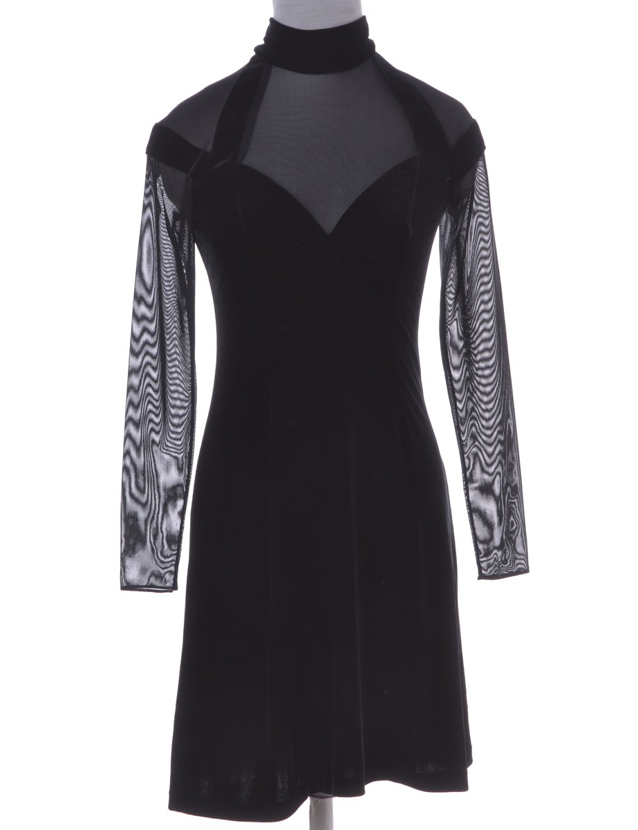 Party Dress Black With Sheer Panels - £34.00