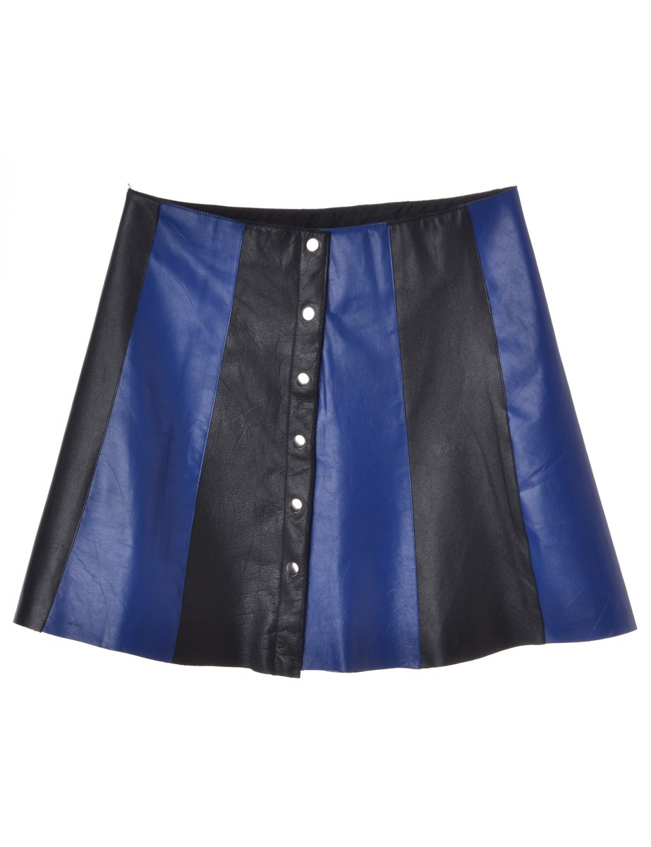 Beyond Retro Label Leather Panel Skirt Blue With Popper Front Fastening - £45.00
