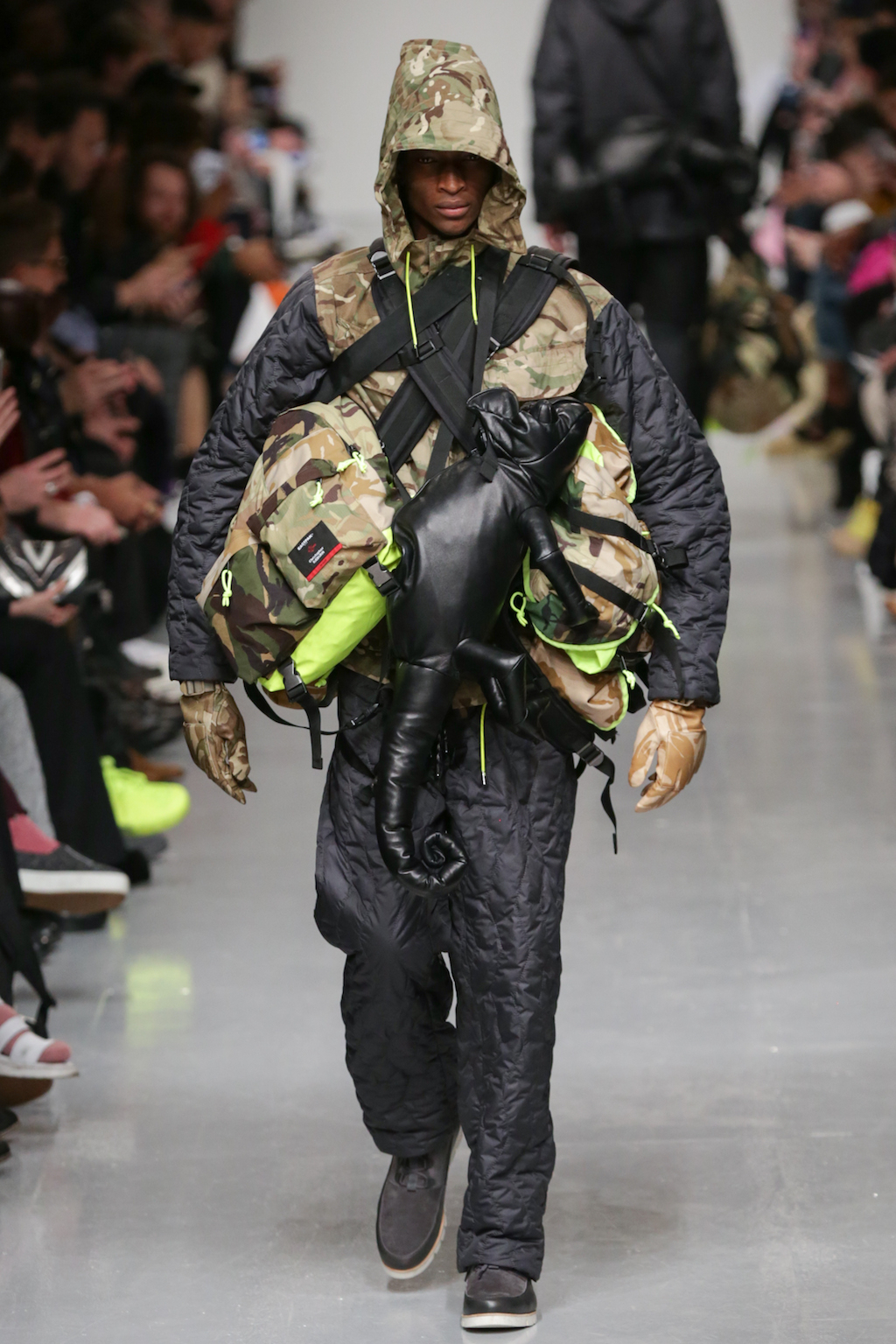 Christopher Reaburn take the camo print more literal, pairing it with a chameleon bag